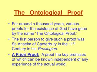 The   Ontological   Proof