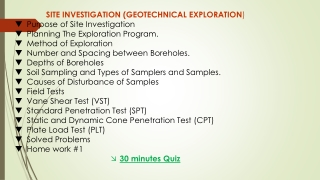 SITE INVESTIGATION (GEOTECHNICAL EXPLORATION ) Purpose of Site Investigation
