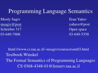 Programming Language Semantics