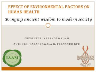 Effect of environmental factors on human health