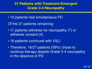 37 Patients with Treatment-Emergent  Grade 3-4 Neuropathy