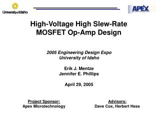 High-Voltage High Slew-Rate  MOSFET Op-Amp Design