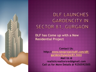 DLF Launches GardenCity in Sector 81 Gurgaon