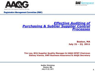 Effective  Auditing of  Purchasing &  Subtier  Supplier Control  Processes
