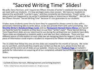 """Sacred Writing Time"" Slides!"