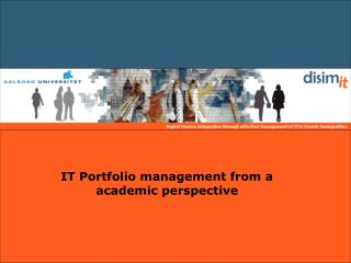 IT Portfolio management from a academic perspective