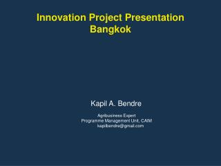 Innovation Project Presentation Bangkok