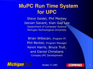 MuPC Run Time System for UPC