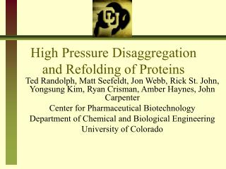 High Pressure Disaggregation and Refolding of Proteins