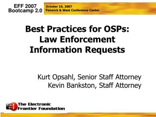 Best Practices for OSPs: Law Enforcement Information Requests