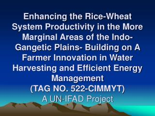 Enhancing the Rice-Wheat System Productivity in the More Marginal Areas of the Indo-Gangetic Plains- Building on A Farme