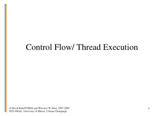 Control Flow/ Thread Execution
