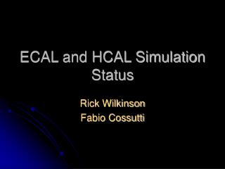 ECAL and HCAL Simulation Status