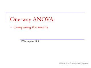 One-way ANOVA:  -  Comparing the means