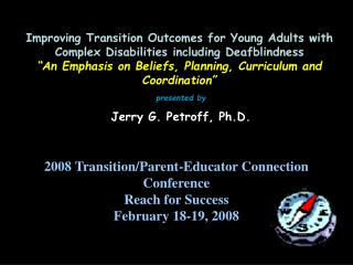 Improving Transition Outcomes for Young Adults with Complex Disabilities including Deafblindness