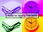 Rules for Writing Test Items