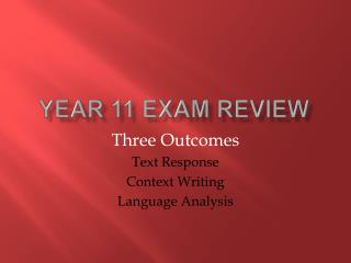 Year 11 Exam Review