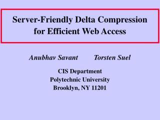 Server-Friendly Delta Compression for Efficient Web Access