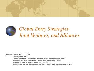 Global Entry Strategies, Joint Ventures, and Alliances