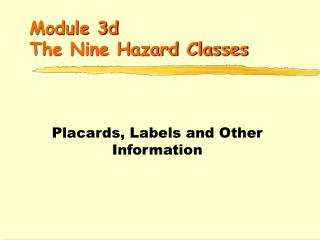 Module 3d  The Nine Hazard Classes