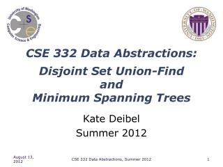 CSE 332 Data Abstractions: Disjoint Set Union-Find  and  Minimum Spanning Trees