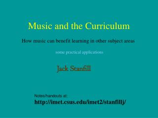 Music and the Curriculum