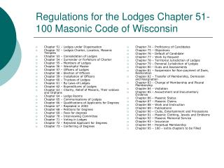 Regulations for the Lodges Chapter 51-100 Masonic Code of Wisconsin