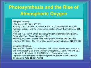Photosynthesis and the Rise of Atmospheric Oxygen