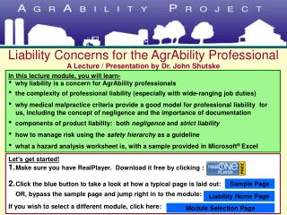 Liability Concerns for the AgrAbility Professional A Lecture / Presentation by Dr. John Shutske