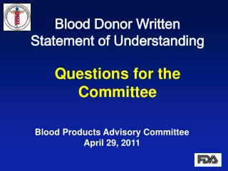 Blood Donor Written Statement of Understanding Questions for the Committee