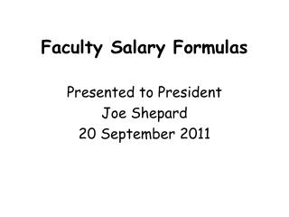 Faculty Salary Formulas