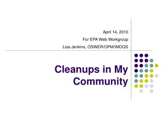 Cleanups in My Community