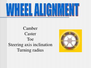 Camber Caster Toe Steering axis inclination Turning radius