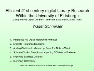 Efficient 21st century digital Library Research Within the University of Pittsburgh Using the Pitt Digital Libraries,  E