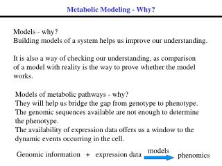 Metabolic Modeling - Why?