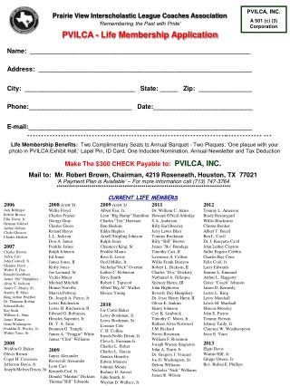 Prairie View Interscholastic League Coaches Association 'Remembering the Past with Pride' PVILCA - Life Membership Appli
