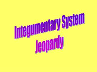 Integumentary System Jeopardy
