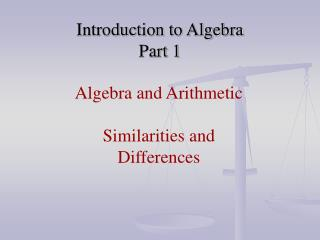 Introduction to Algebra Part 1