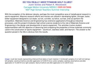 DO YOU REALLY NEED TITANIUM GOLF CLUBS Justin Sickles and Robert A. Wesolowski Carnegie Mellon University MRSEC DMR-0079