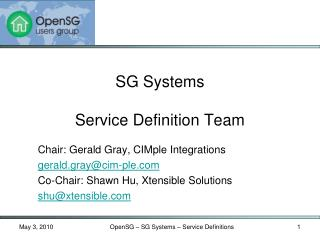 SG Systems  Service Definition Team