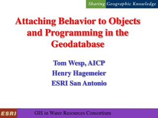 Attaching Behavior to Objects and Programming in the Geodatabase