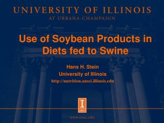 Use of Soybean Products in Diets fed to Swine
