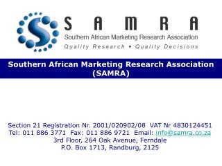 Southern African Marketing Research Association SAMRA