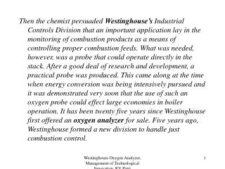 Westinghouse Oxygen Analyzer, Management of Technological Innovation, KV Patri