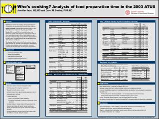 Who s cooking Analysis of food preparation time in the 2003 ATUS  Jennifer Jabs, MS, RD and Carol M. Devine, PhD, RD
