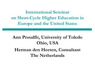 International Seminar  on Short-Cycle Higher Education in Europe and the United States