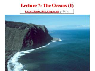 Lecture 7: The Oceans (1)