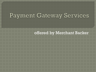 Payment Gateway Services