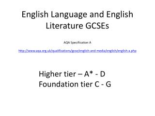 English Language and English Literature GCSEs AQA Specification A http://www.aqa.org.uk/qualifications/gcse/english-and-