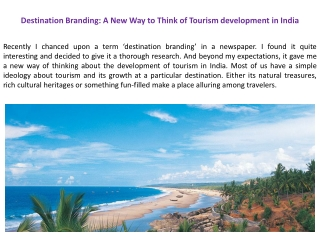 Destination Branding: A New Way to Think of Tourism developm